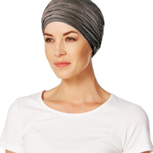 Karma turban med headband i warm brown melange