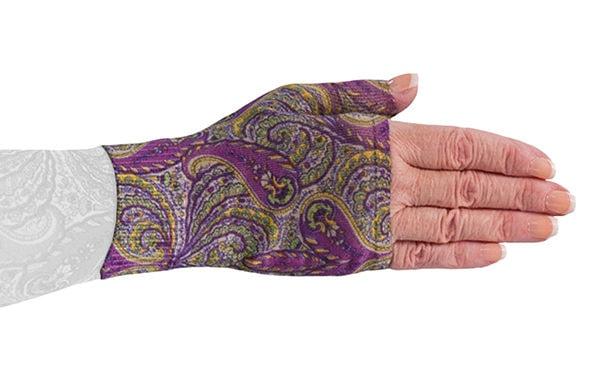 Purple Paisley kompressionshandske uden fingre