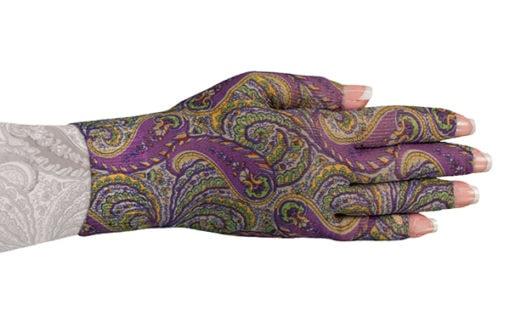 Purple Paisley kompressionshandske med 5 fingre