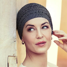 Yoga turban i black and beige print